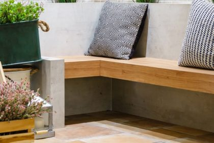 A beautiful banana lounge made from concrete