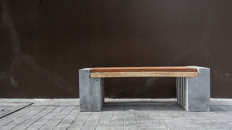 Concrete and wood outdoor chair