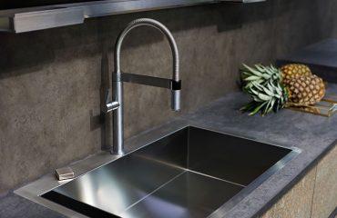 Modern kitchen with a concrete worktop